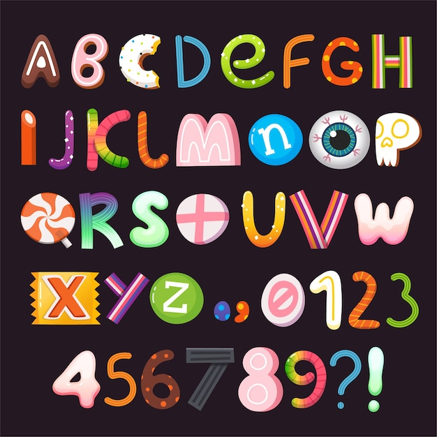Alphabet De Vecteur Halloween Avec Des Lettres Et Des Chiffres En Bonbons Et Bonbons. Partie 1 De 3 Vecteur Premium