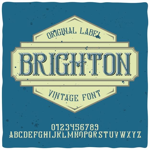 Alphabet Vintage Et Police De Caractères Nommée Brighton. Vecteur gratuit