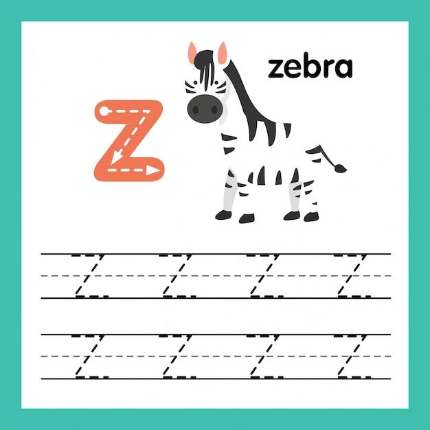 Alphabet Z Exercice Avec Illustration De Vocabulaire De Dessin Animé, Vector Vecteur Premium