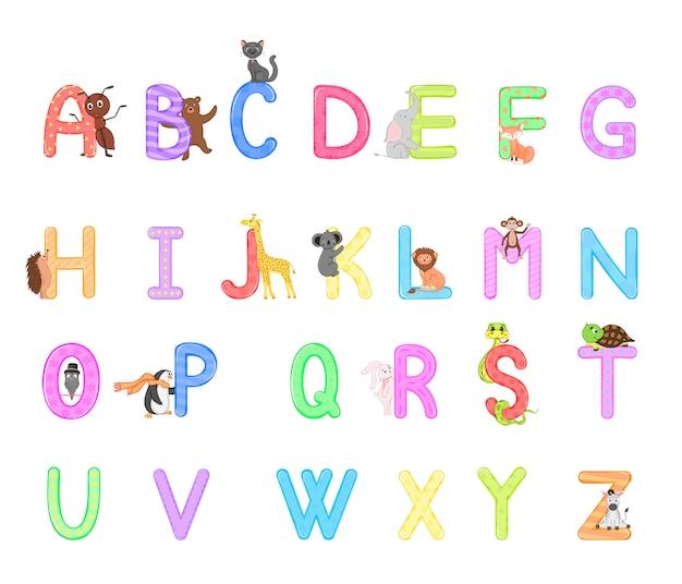 Alphabet de zoo. alphabet animal. lettres de a à z. Vecteur Premium