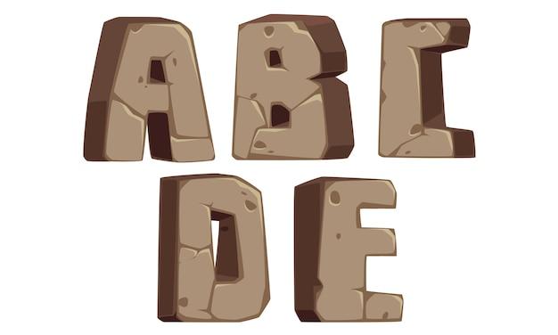 Alphabets de pierre a, b, c, d, e Vecteur Premium