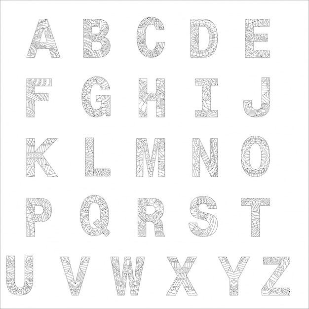 Alphabets Stylisés, Livre De Coloriage Pour Les Enfants. Vecteur Premium
