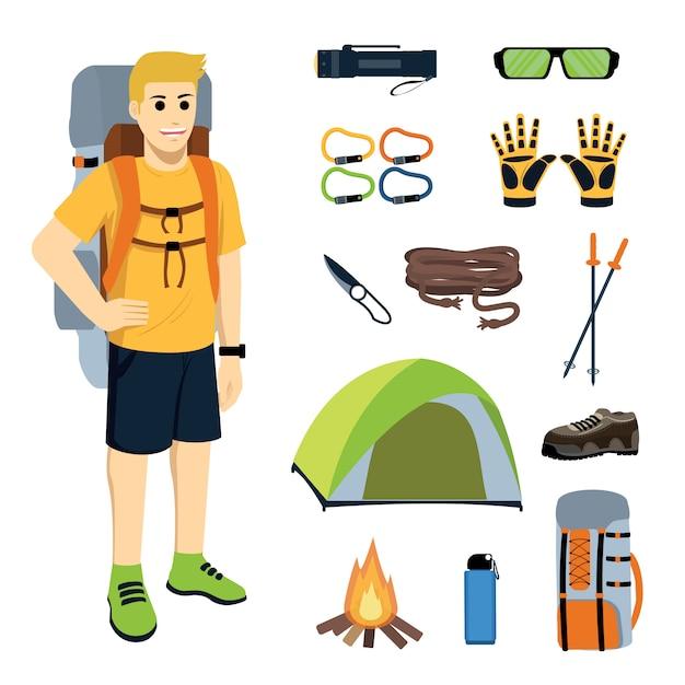 Alpiniste avec équipement et équipement d'escalade Vecteur Premium
