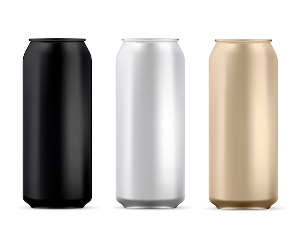 Aluminium peut blanc. boîte ronde à soda isolée Vecteur Premium