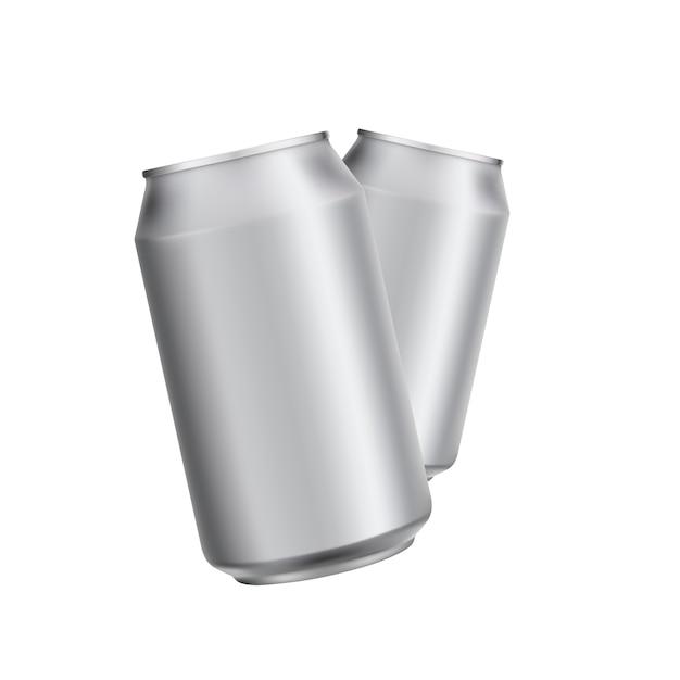 Aluminium peut boire soad ou template de bière Vecteur Premium