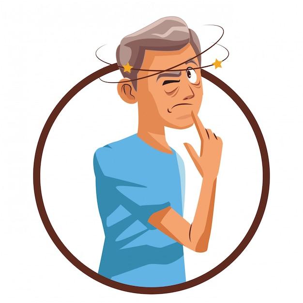 Alzheimer vieil homme Vecteur Premium