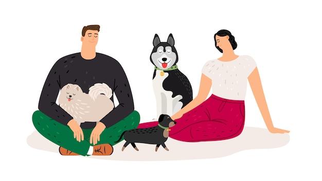 Les Amateurs De Chiens. Couple Avec Des Animaux. Personnages De Plat Femme Homme Et Chiens, Illustration Vectorielle Vecteur Premium