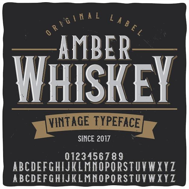Amber Whiskey étiquette De Caractère Vecteur Premium