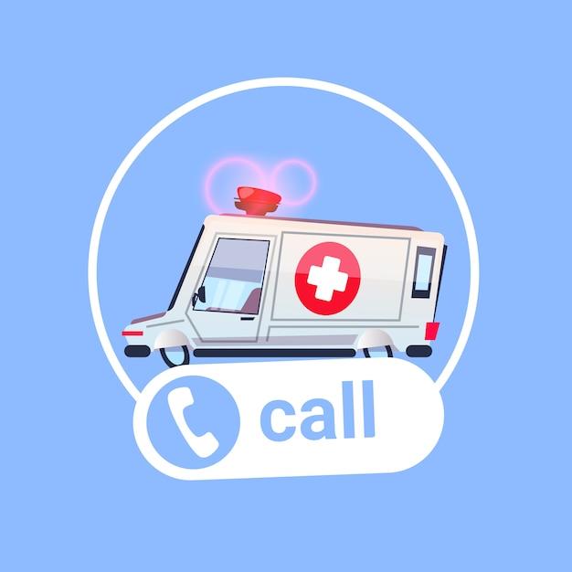 Ambulance car call icon first assistance aide médicale d'urgence Vecteur Premium