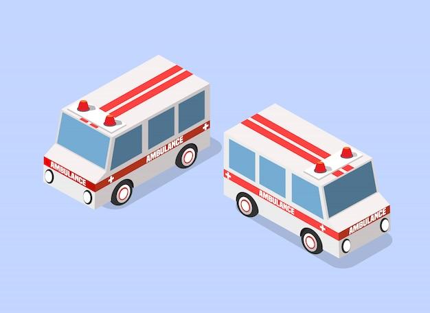 Ambulance isométrique Vecteur Premium