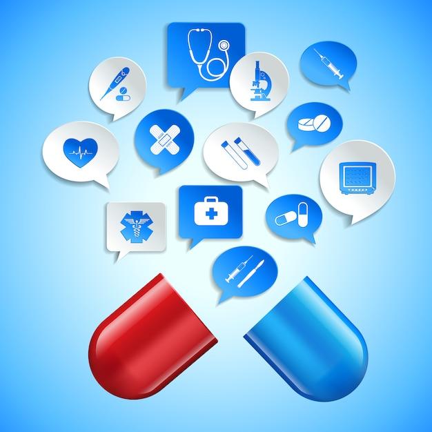 Ambulance de pharmacie médicale et concept de soins de santé avec capsule et bulles de papier vector illustration Vecteur Premium