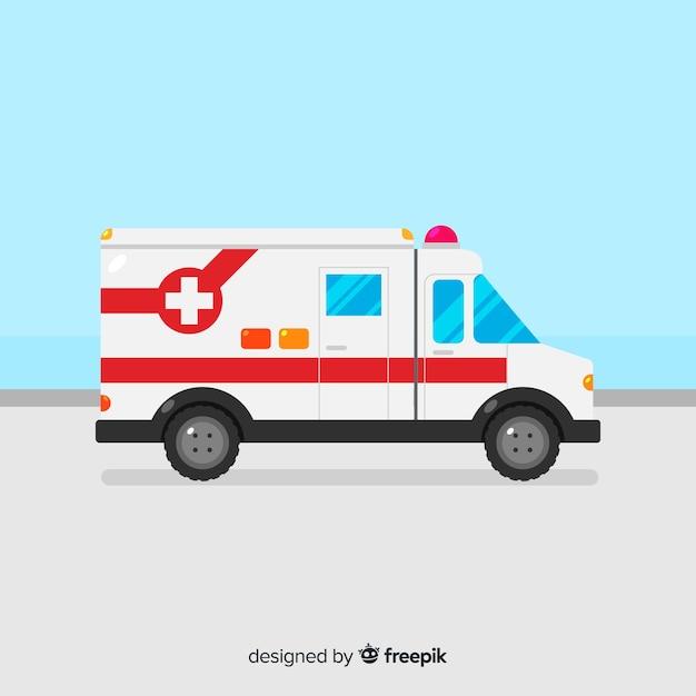 Ambulance à plat Vecteur gratuit