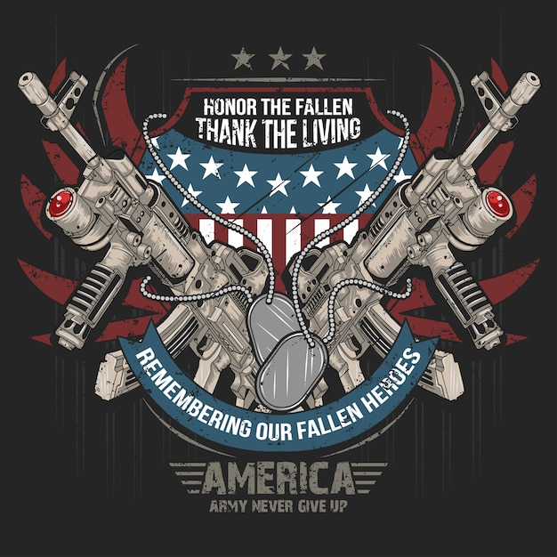 America weap gun ak machine gun vecteur usa drapeau usa Vecteur Premium