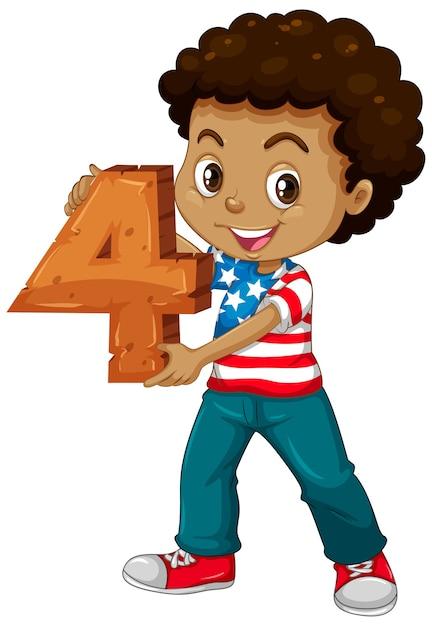 American Boy Holding Math Numéro Quatre Vecteur gratuit