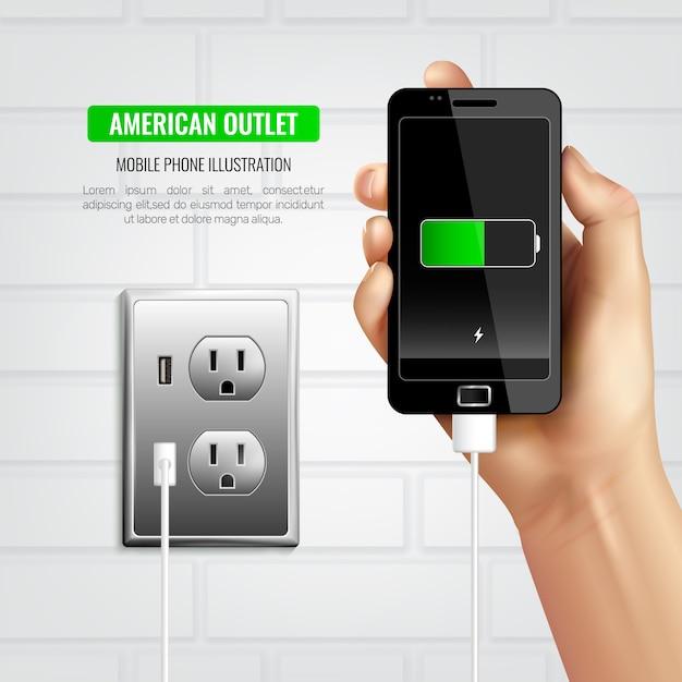American Outlet Composition Du Téléphone Portable Vecteur gratuit