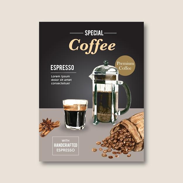 Americano, remise d'affiche de café cappuccino, modèle moderne, illustration aquarelle Vecteur gratuit