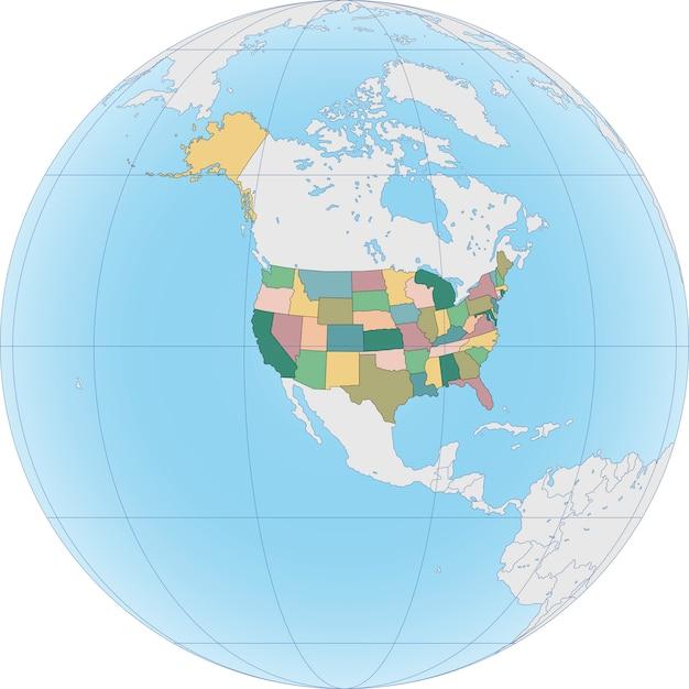 Amérique Du Nord Avec Les états-unis Sur Le Globe Vecteur Premium