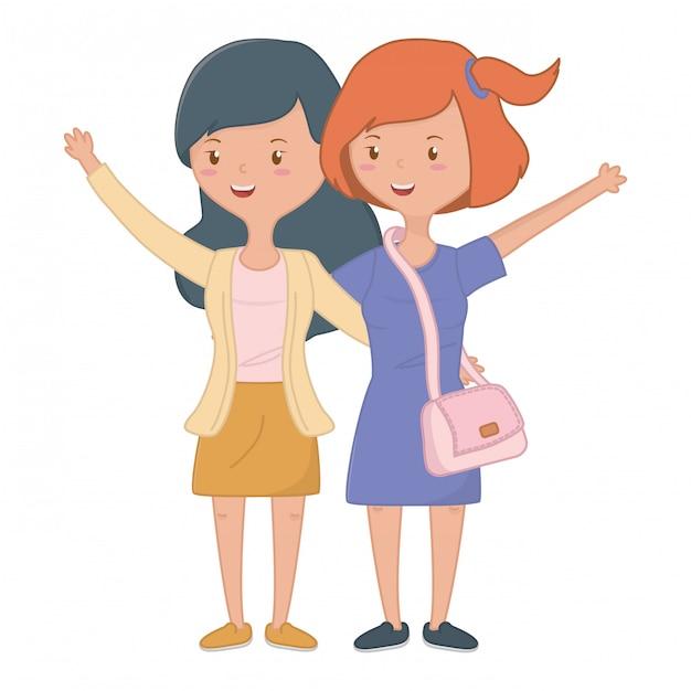 Amies adolescentes Vecteur gratuit