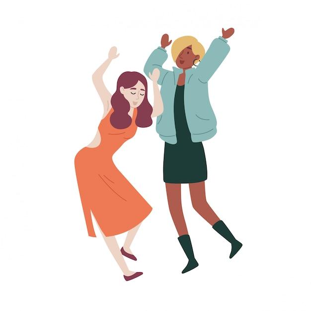 Amies danser. Vecteur Premium