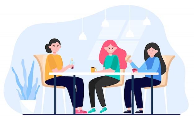 Amies Traîner Dans Le Café Vecteur gratuit