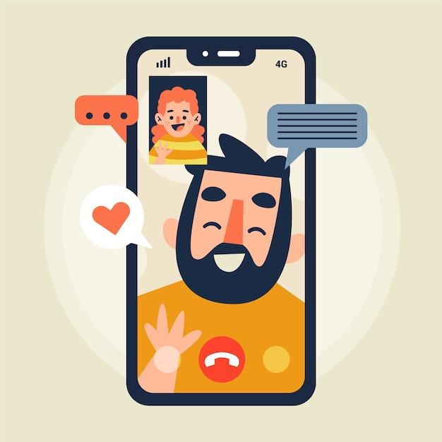 Amis Appel Vidéo Illustration Avec Téléphone Vecteur gratuit