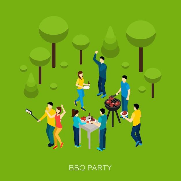 Amis bbq party Vecteur gratuit