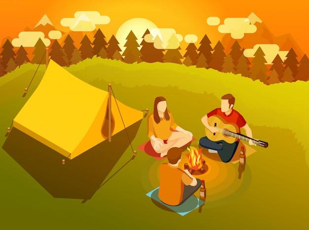 Amis Chantant Autour D'illustration Isométrique Du Feu De Camp Vecteur gratuit