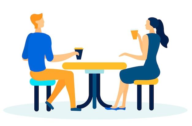 Amis ou collègues ayant un dessin animé de pause café Vecteur Premium