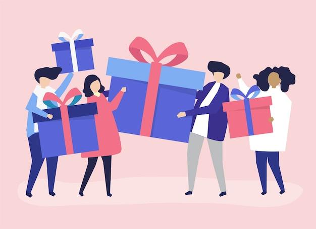 Amis échangeant des boîtes-cadeaux les uns avec les autres Vecteur gratuit
