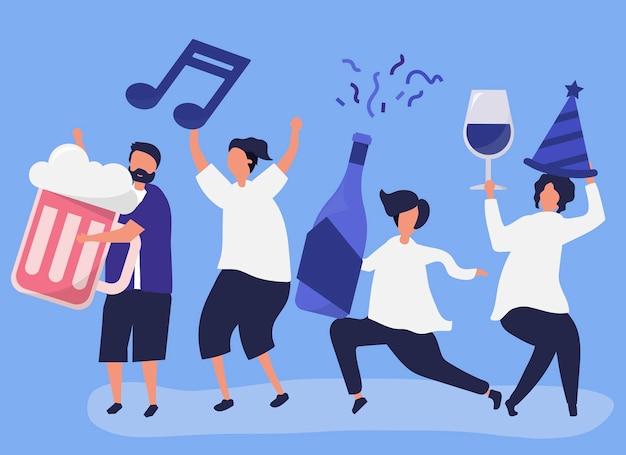 Amis faire la fête et boire des boissons différentes Vecteur gratuit