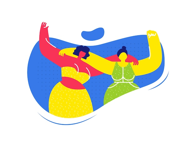 Amis femmes, étreindre, plat, illustration Vecteur Premium