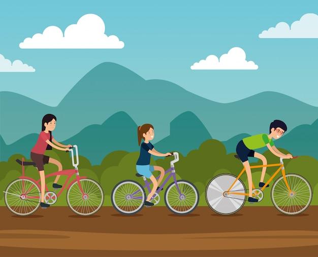 Amis femmes et homme à vélo Vecteur gratuit