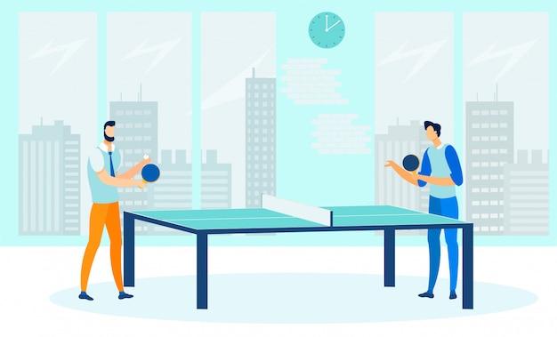 Amis jouant au plat de ping-pong Vecteur Premium