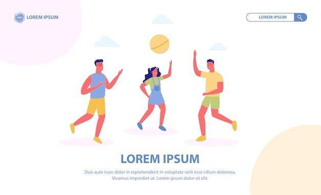 Amis, jouer au ballon, volley-ball de plage Vecteur Premium