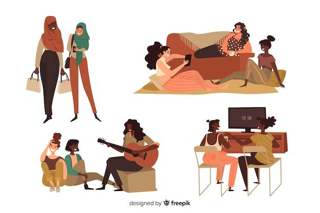 Amis passer du temps ensemble illustré Vecteur gratuit