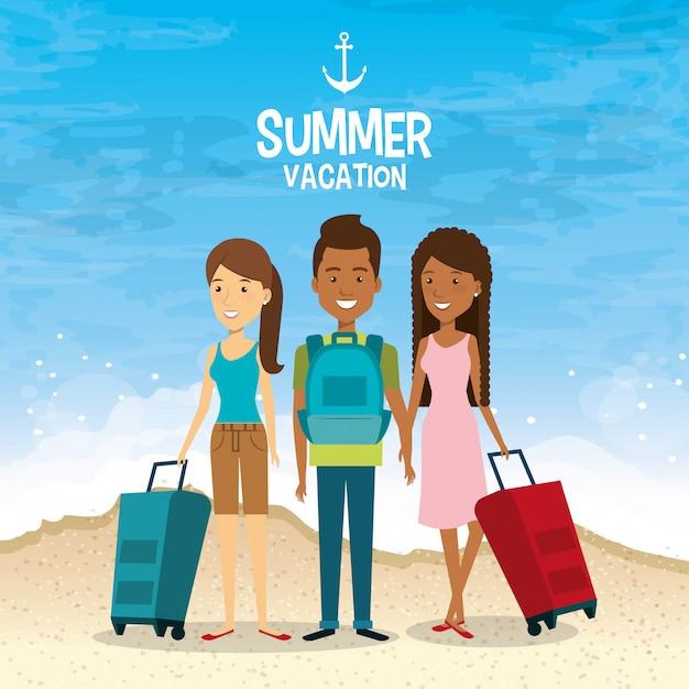 Amis à La Plage Vacances D'été Vecteur gratuit