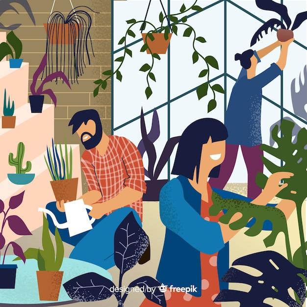 Amis prenant soin des plantes Vecteur gratuit