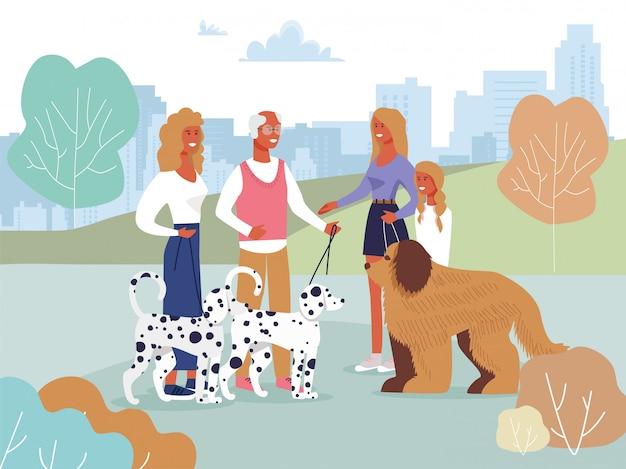 Amis réunis dans un parc à pied avec une bande dessinée de chiens Vecteur Premium