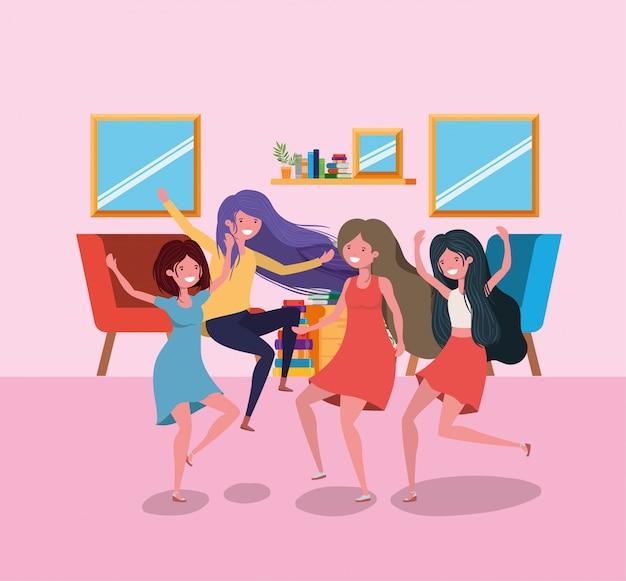 Amitié des dessins animés de filles Vecteur gratuit