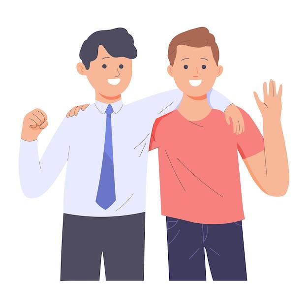 Amitié de deux jeunes hommes de professions différentes, deux hommes s'embrassant dans les bras Vecteur Premium