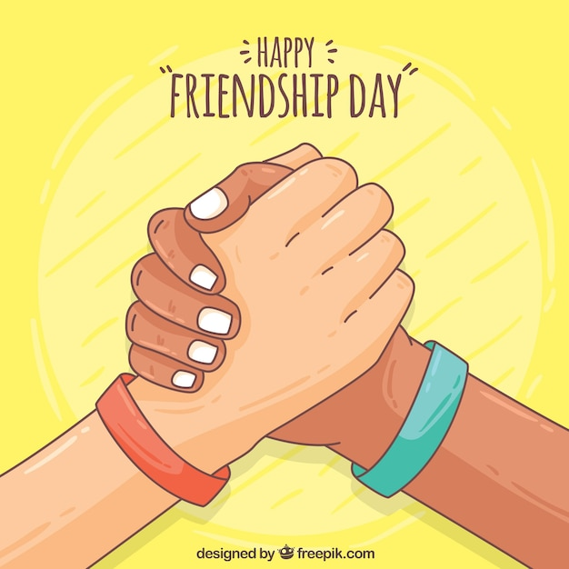 Amitié à la main amitié fond de jour heureux Vecteur gratuit