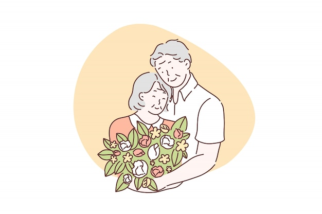 Amour, amitié, ensemble, concept de la saint-valentin Vecteur Premium