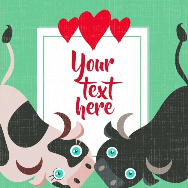 L'amour conception de la carte avec des animaux Vecteur gratuit