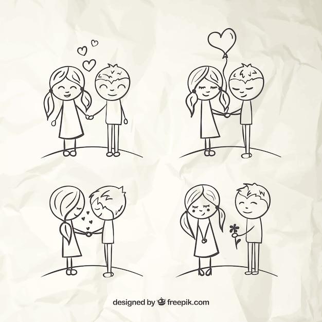 Amour couple sketches Vecteur gratuit