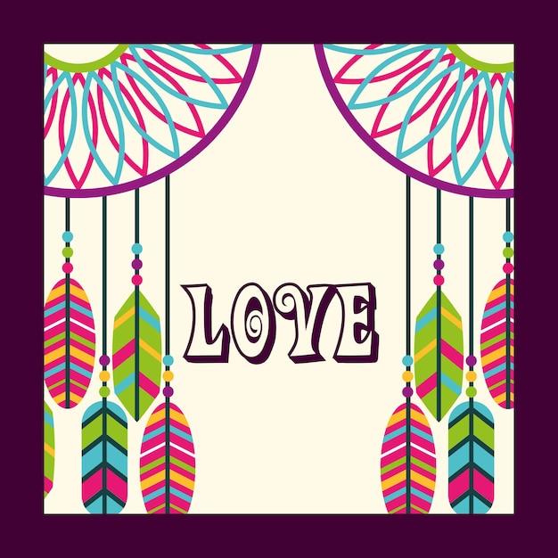 Amour dream catcher plumes ornement esprit libre Vecteur Premium