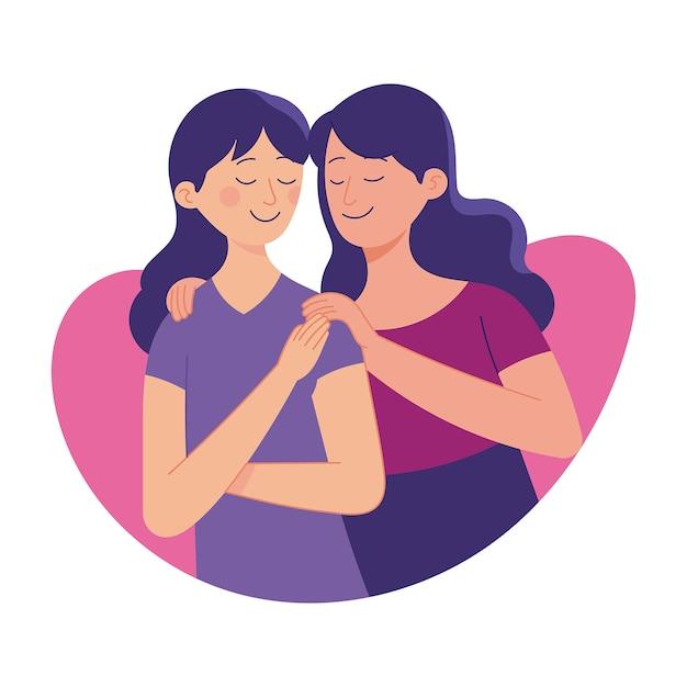 Amour entre soeur, soeur aînée aime sa soeur plus jeune, lien d'amour de la famille Vecteur Premium