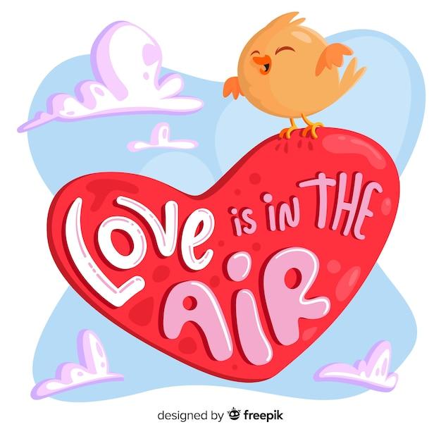 L'amour est dans l'air coeur avec oiseau Vecteur gratuit