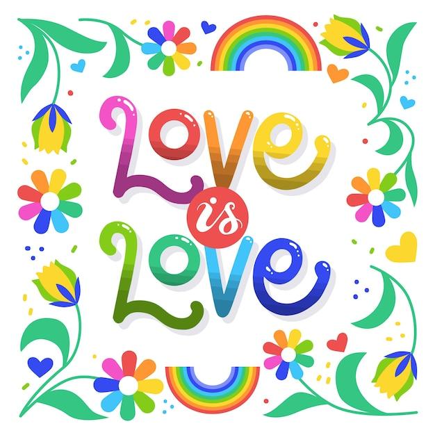 L'amour Est Le Lettrage Et Les Fleurs De Jour De Fierté D'amour Vecteur gratuit