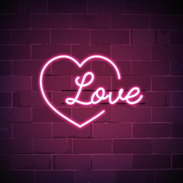 L'amour est tout autour de l'enseigne au néon Vecteur gratuit