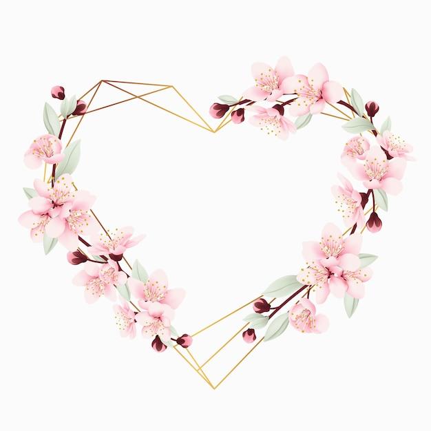 Amour fond cadre floral avec des fleurs de cerisier Vecteur Premium